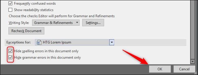 hide spelling and grammar errors