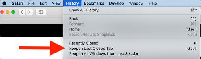 "Click ""Reopen Last Closed Tab."""