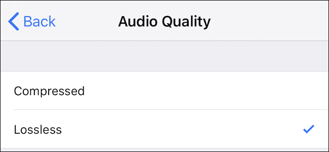 Voice Memos quality settings