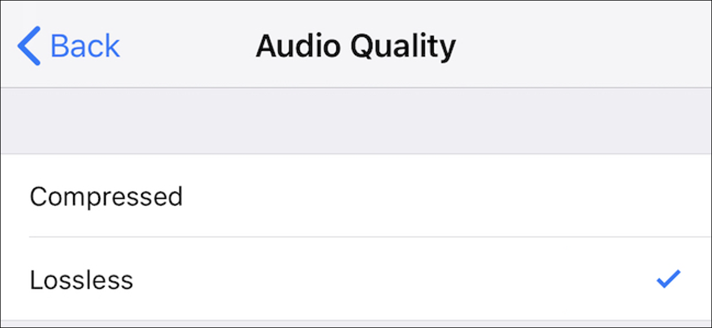 Voice Memos quality settings