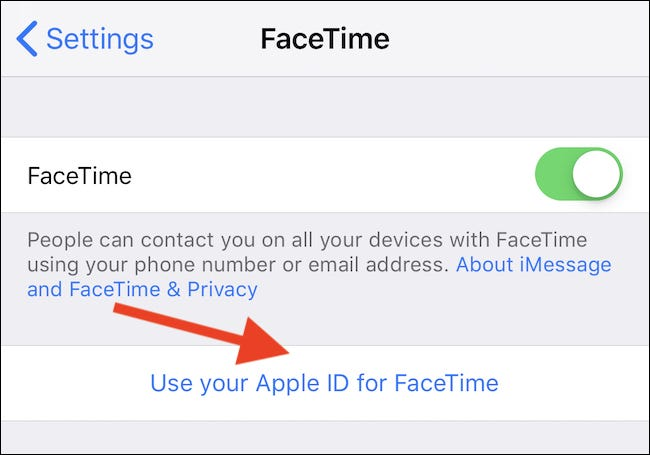 Tap Use Your Apple ID for FaceTime