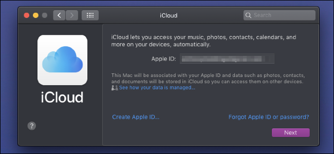 iCloud sign in page
