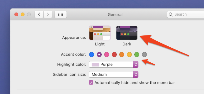system preferences dark mode toggle