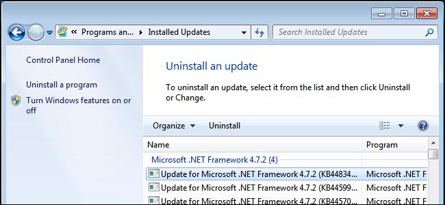 Uninstalling a Windows update on Windows 7