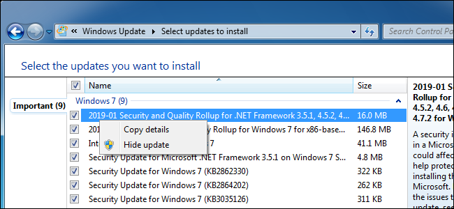 Hiding an update in Windows Update on Windows 7