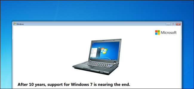 Windows 7 support end date nag message on the desktop.