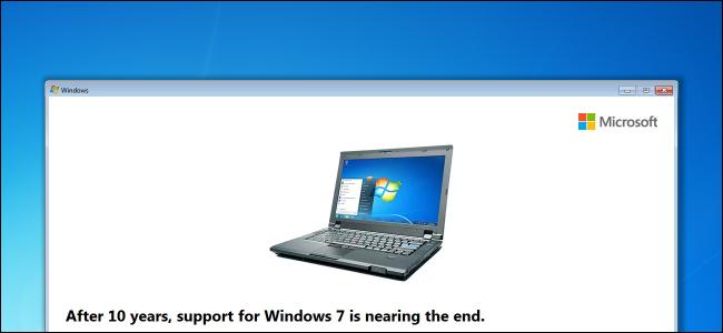 Windows 7 support end date nag message on desktop