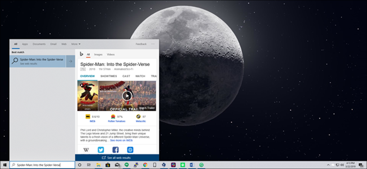 Windows 10 Start Menu search with Bing web results for Spider-Man: Into the Spider-Verse