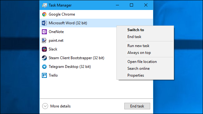 Task Manager's simplified application management view