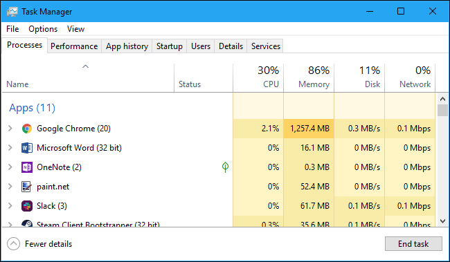 Viewing app resource usage in the Windows Task Manager