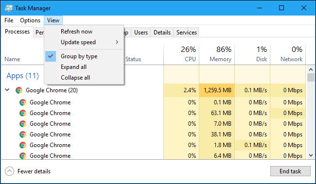 The View menu in the Task Manager
