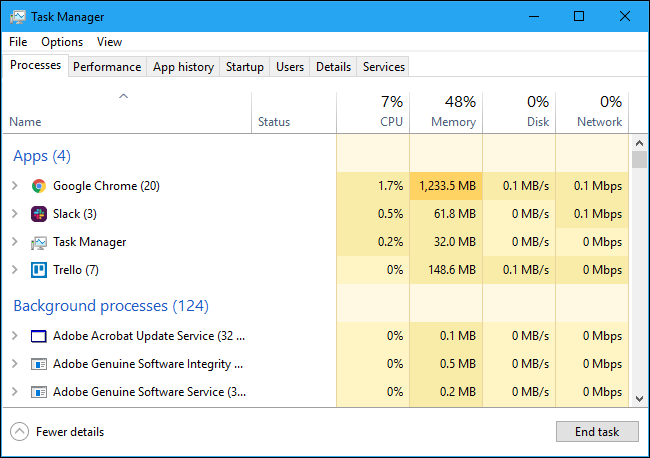 Apps and background processes in the Task Manager
