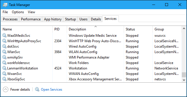 The Services tab in the Task Manager