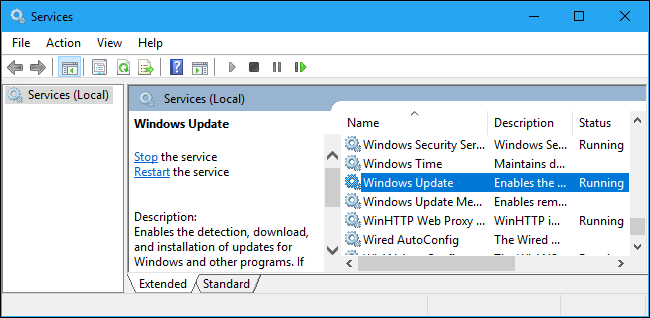Windows 10's Services management tool