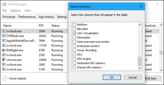 Selecting columns for the Windows Task Manager's Details tab