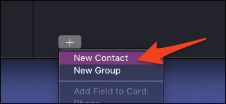 macOS add new contact