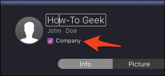Company contact option