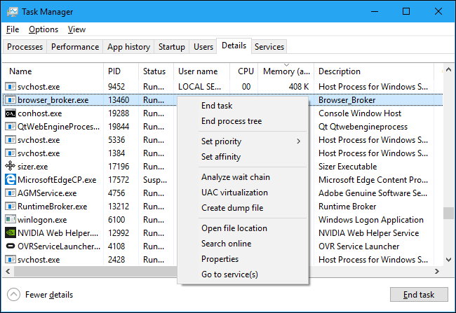 Context menu options for a process on the Task Manager's Details tab