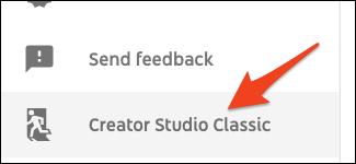 YouTube classic studio option