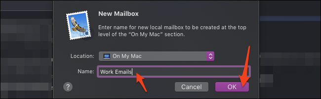 macOS Mail new mailbox