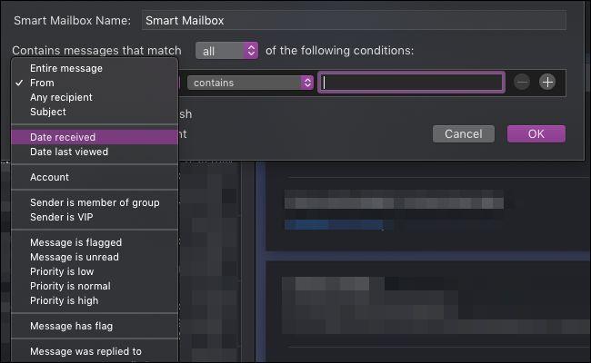 macOS Mail smart mailbox settings