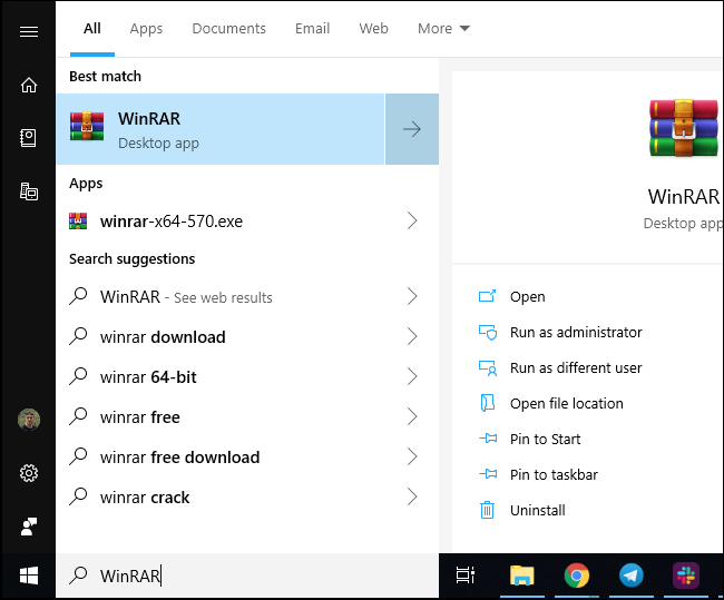 WinRAR shortcut in Windows 10's Start menu