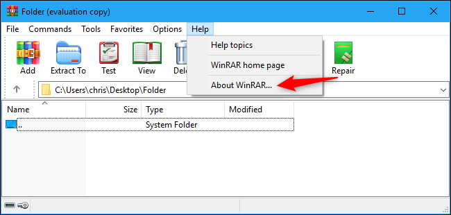 Find WinRAR's version number in Help menu