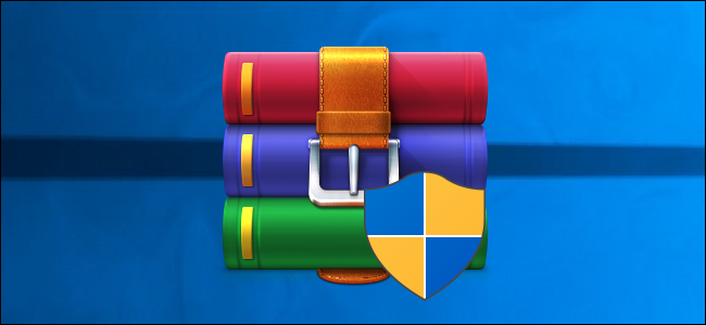 WinRAR installer logo on a Windows 10 desktop