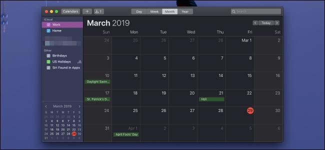 Calendar app on macOS