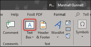 insert horizontal text box