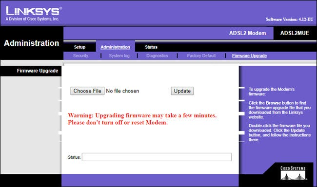 LINKSYS firmware upgrade page
