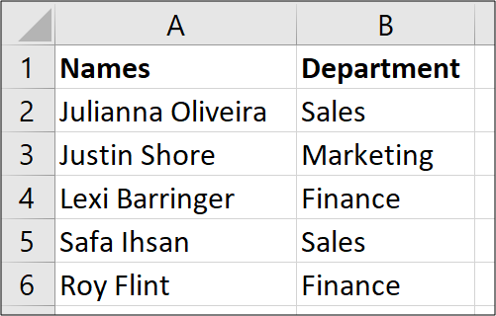 List of names to separate with Text to Columns