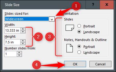 slide size customization options