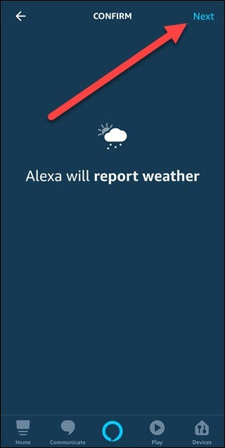 Weather confirm option with arrow pointing to next button.