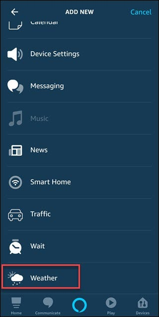 Routine add new dialog with box around Weather option.