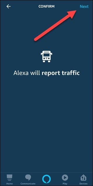 Traffic confirm option with arrow pointing to next button.