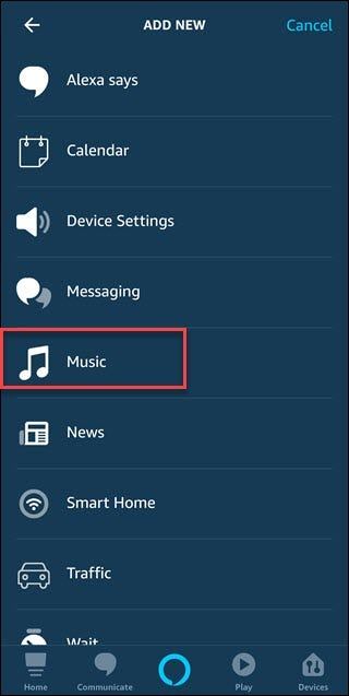 Routine add new dialog with box around Music option.