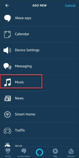 Routine add new dialog with box around Music option.