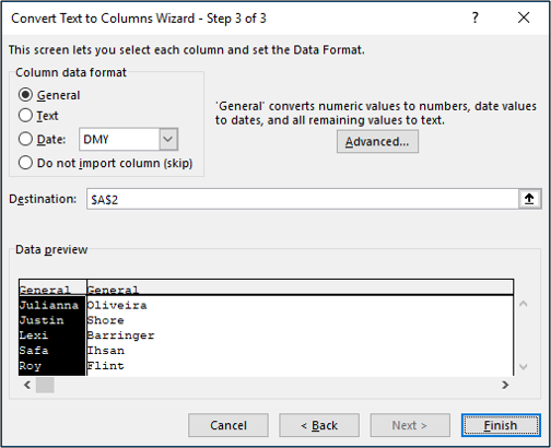 Step 3 of the Text to Columns wizard