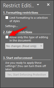 tick box under editing restrictions