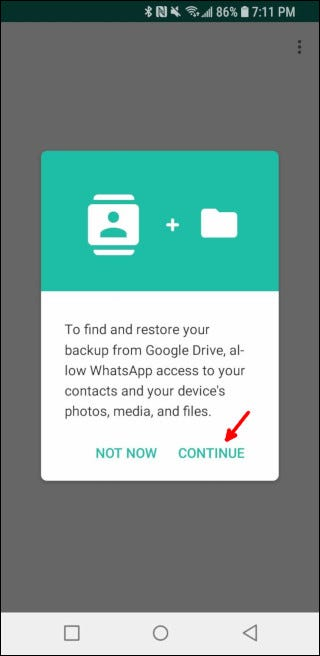 Let WhatsApp view your contacts and files