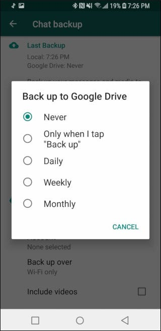 How often the automatic backup can run