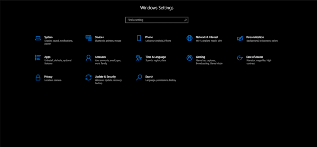 Windows 10's blacked out Settings menu.