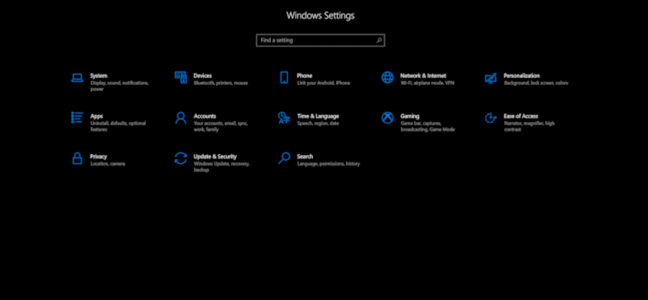 Windows 10's blacked out Settings menu.