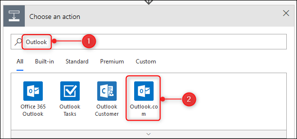 Search for Outlook and select Outlook.com