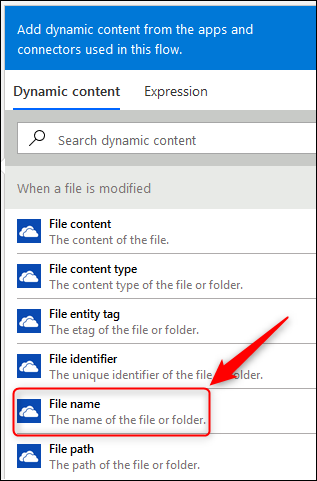 "The ""File name"" dynamic content option"