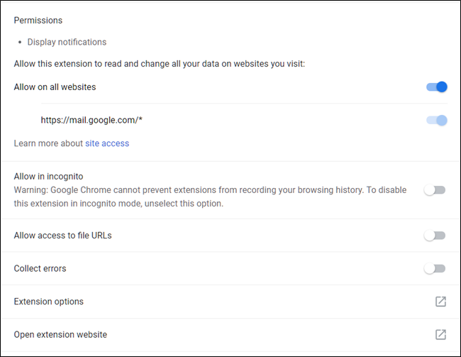 A Chrome extension's management settings