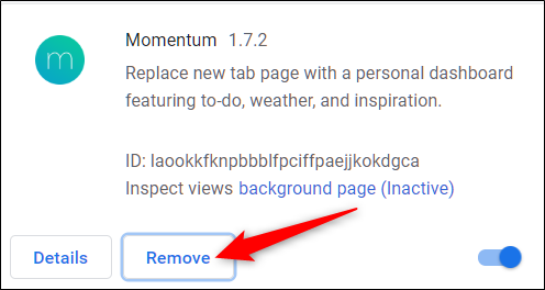 Click remove icon to remove extension