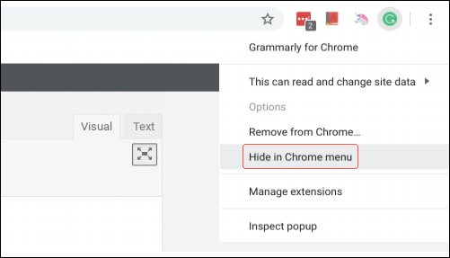 Hiding an extension in the Chrome menu