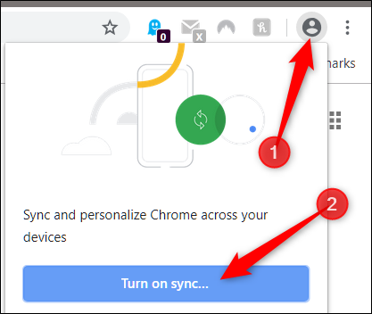 "Click the profile icon, then on ""Turn on Sync."""